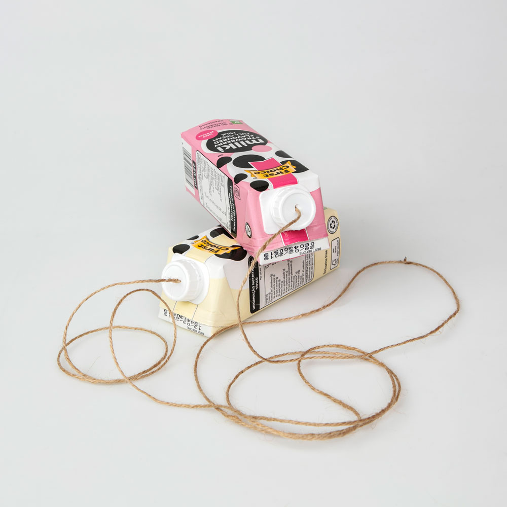 Milki string telephone is easy to make and keeps the kids entertained for hours.