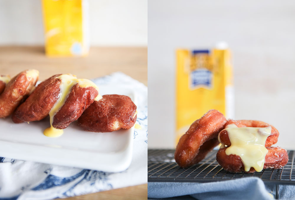 Custard filled donuts with a First Choice Custard box in the background