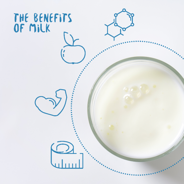 The benefits of milk with a glass of milk